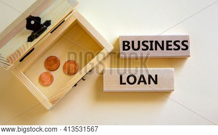 Time To Business Loan. Concept Words 'business Loan' On Wooden Blocks On A Beautiful White Backgroun