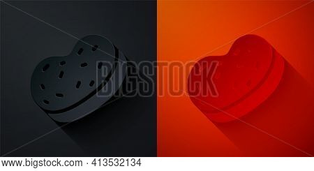 Paper Cut Bath Sponge Icon Isolated On Black And Red Background. Sauna Sponge. Paper Art Style. Vect