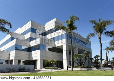 GARDEN GROVE, CALIFORNIA - 20 MAR 2021: Christ Cathedral Academy and Diocese of Orange Pastoral Center.