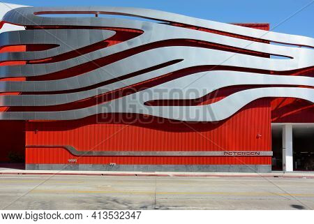 LOS ANGELES - MARCH 28, 2018: Side detail of The Petersen Automotive Museum. Located on Wilshire Boulevard along Museum Row in the Miracle Mile neighborhood of Los Angeles.