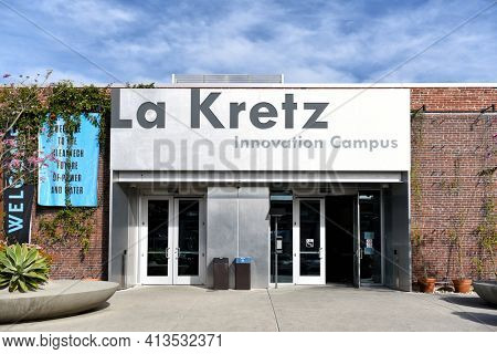 LOS ANGELES, CALIFORNIA - 05 FEB 2020: La Kretz Innovation Campus. The campus is the home of cleantech innovation in Los Angeles.