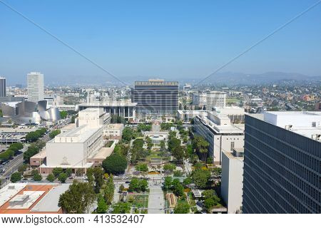 LOS ANGELES, CALIFORNIA - JUNE 12, 2018: Downtown Los Angeles seen from City Hall. Showing: Disney Hall, Mosk, Courthouse, DWP Building, Grand Park, Dorothy Chandler Pavilion, Hall of Administration