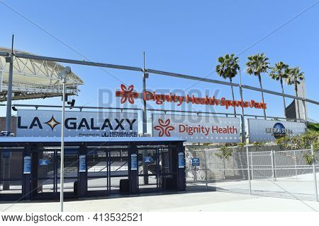 CARSON, CALIFORNIA - 20 MAR 2021: Main Gate at Dignity Health Sports Park, on the campus of Cal State Dominguez Hills,  home to the LA Galaxy of Major League Soccer.