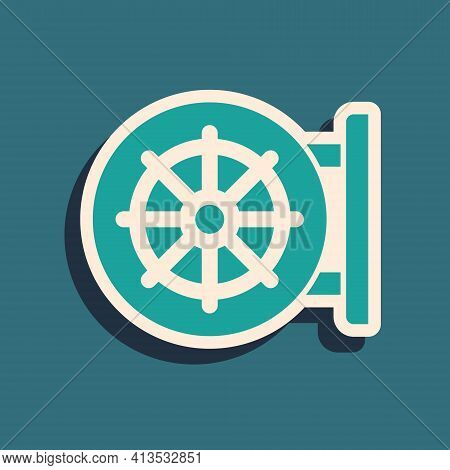 Green Dharma Wheel Icon Isolated On Green Background. Buddhism Religion Sign. Dharmachakra Symbol. L