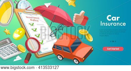 3d Vector Conceptual Illustration Of Car Insurance Policy.