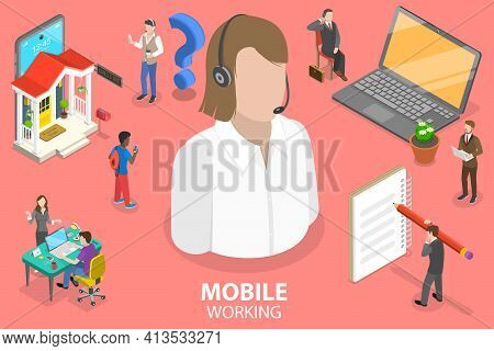 3d Isometric Flat Vector Conceptual Illustration Of Mobile Working, Online Job.