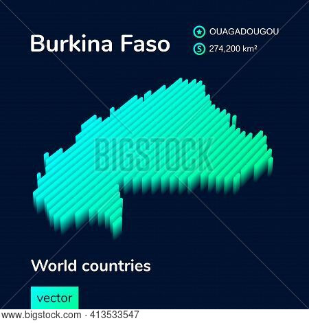 Stylized Neon Digital Isometric Striped Vector  Burkina Faso Map  With 3d Effect. Map Of Burkina Fas