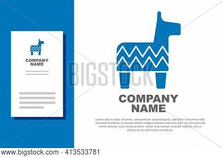 Blue Pinata Icon Isolated On White Background. Mexican Traditional Birthday Toy. Logo Design Templat