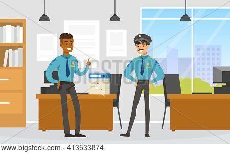 Policeman Or Cop As Warranted Law Employee At Police Office Talking To Each Other Vector Illustratio
