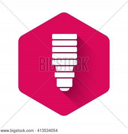 White Led Light Bulb Icon Isolated With Long Shadow Background. Economical Led Illuminated Lightbulb