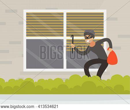 Male Burglar Or Robber In Black Mask Breaking Into House Through Window Vector Illustration