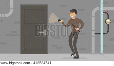 Male Burglar Or Robber With Flashlight Breaking Into House Through Door Vector Illustration