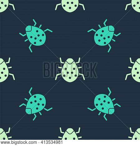 Green And Beige System Bug Concept Icon Isolated Seamless Pattern On Blue Background. Code Bug Conce