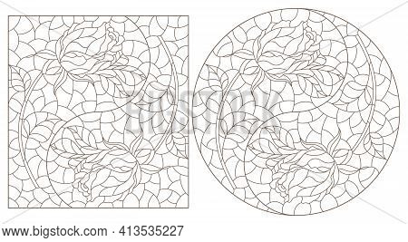 Set Of Contour Illustrations In Stained Glass Style With Roses In The Yin Yang Sign, Dark Contours O