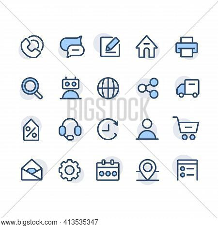 Contact Us Icons Set With Dots. About Us. Location And Ways To Connect With Business For Cover Stori