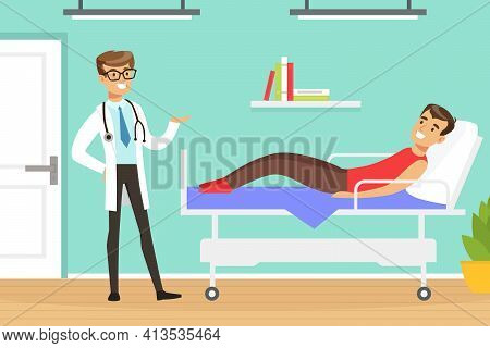 Man Doctor Giving Medical Advice To Man Patient Lying On Hospital Bed Vector Illustration