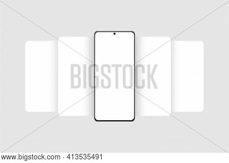 Phone Frame Mockup With Blank App Screens. Mobile App Design Concept For Showing Screenshots. Vector