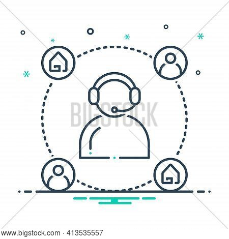 Mix Icon For Customer-support  Customer Support  Helpline Callcenter Property Real-estate