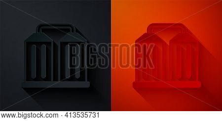 Paper Cut Granary Icon Isolated On Black And Red Background. Silo With Grain, Elevator, Granary, Fac
