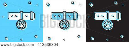 Set Collar With Name Tag Icon Isolated On Blue And White, Black Background. Supplies For Domestic An