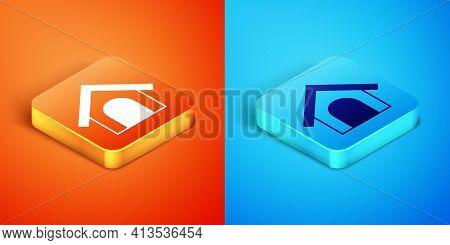 Isometric Dog House Icon Isolated On Orange And Blue Background. Dog Kennel. Vector