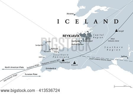 Geology Of The Capital Region And Southern Peninsula Of Iceland, Gray Political Map. Reykjavik And V