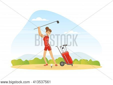 Cheerful Woman Playing Golf Hitting Ball Into Hole With Club Vector Illustration