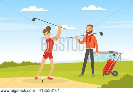 Cheerful Man And Woman Playing Golf Hitting Ball Into Hole With Club Vector Illustration
