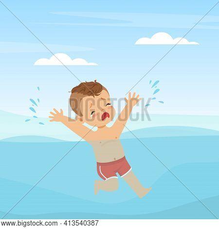 Crying Boy Splashing In Water Struggling To Swim Vector Illustration