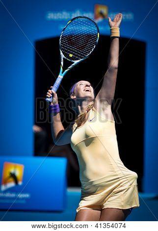 MELBOURNE - JANUARY 23: Victoria Azarenka of Belarus in her quarter final win over Svetlana Kuznetsova at the 2013 Australian Open on January 23, 2013 in Melbourne, Australia.