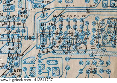 Old Radio Circuit Printed On Vintage Paper Electricity Diagram As Background For Education, Electric