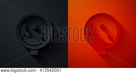 Paper Cut Road Sign Warning Avalanche Rockfall Landslides Icon Isolated On Black And Red Background.