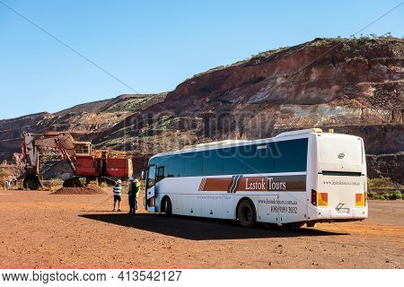Tom Price, Western Australia - July 9, 2018: Bci Bus Of Lestok Tours Travel Company Which Provides G