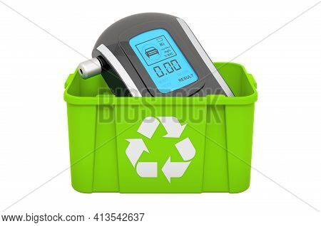 Recycling Trashcan With Breathalyzer, 3d Rendering Isolated On White Background