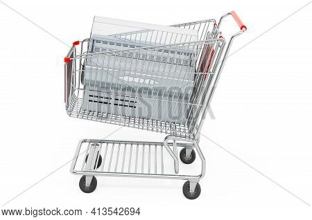 Shopping Cart With Display Case Showcase. 3d Rendering Isolated On White Background