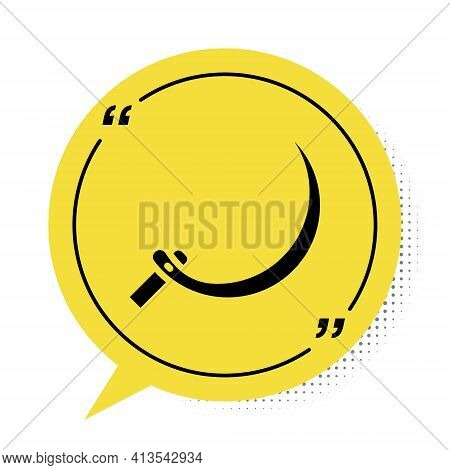 Black Sickle Icon Isolated On White Background. Reaping Hook Sign. Yellow Speech Bubble Symbol. Vect