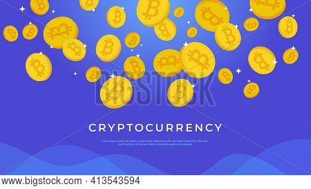 Cryptocurrency Abstract Background. Gradient Vector Illustration Of Golden Crypto Coins Flying On Bl
