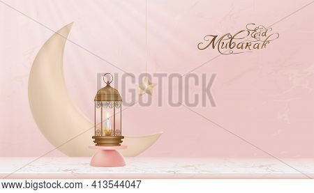 Islamic, Eid Mubarak Display Decoration With Lantern On Podium,crescent Moon With Star, Vector 3d Cy