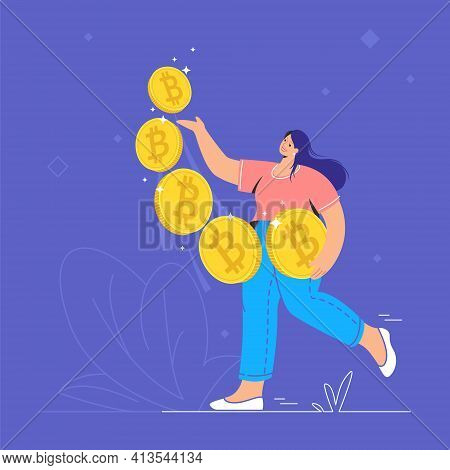 Young Woman Walking Alone And Carrying Five Golden Bitcoins. Flat Modern Concept Vector Illustration
