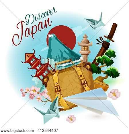 Discover Japan Poster With Cartoon Suitcase Mountain And Sakura Vector Illustration