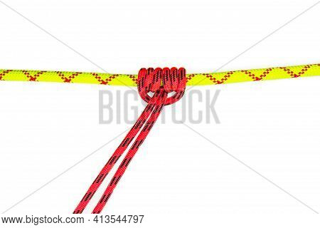 Reef, Hercules, Square, Double Or Brother Hood Binding Knot Binding Two Colored Red And Green Ropes.