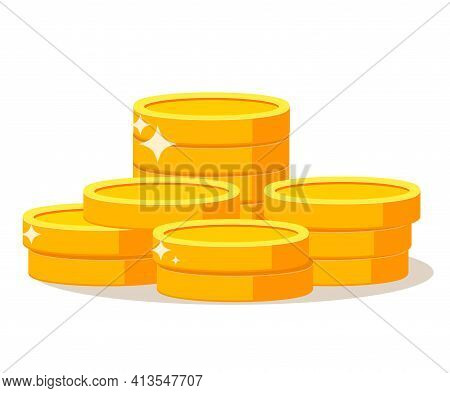 Gold Coin Cash Money.coins Stack. Penny Cash Pile.