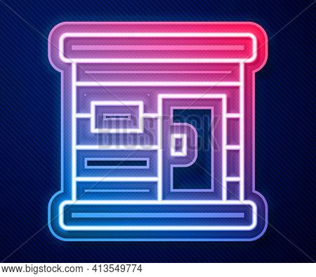 Glowing Neon Line Sauna Wooden Bathhouse Icon Isolated On Blue Background. Heat Spa Relaxation Thera