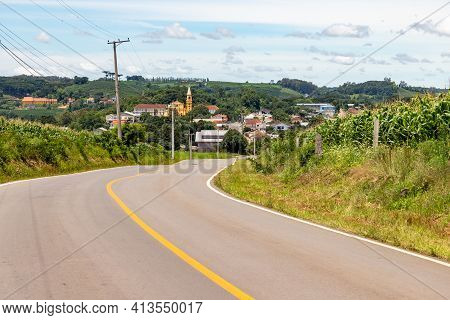 Road, Village And Plantation, Pinto Bandeira, Rio Grande Do Sul, Brazil