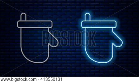 Glowing Neon Line Sauna Mittens Icon Isolated On Brick Wall Background. Mitten For Spa. Vector