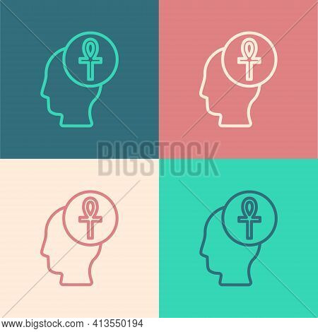 Pop Art Line Cross Ankh Icon Isolated On Color Background. Vector