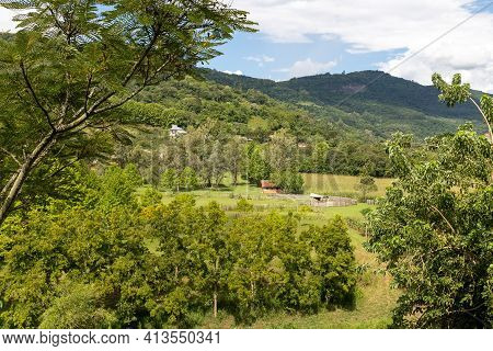 Montain, Forest And Farms , Santa Tereza, Rio Grande Do Sul, Brazil