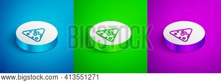 Isometric Line Nachos Icon Isolated On Blue, Green And Purple Background. Tortilla Chips Or Nachos T