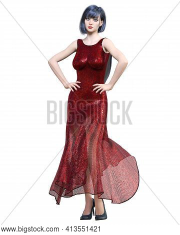 Beautiful Sexy Brunette Woman In Red Long Evening Dress.summer Clothes Collection.bright Makeup.woma