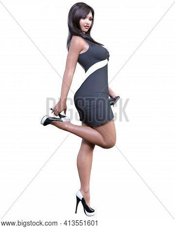 Beautiful Woman In Short Dress.